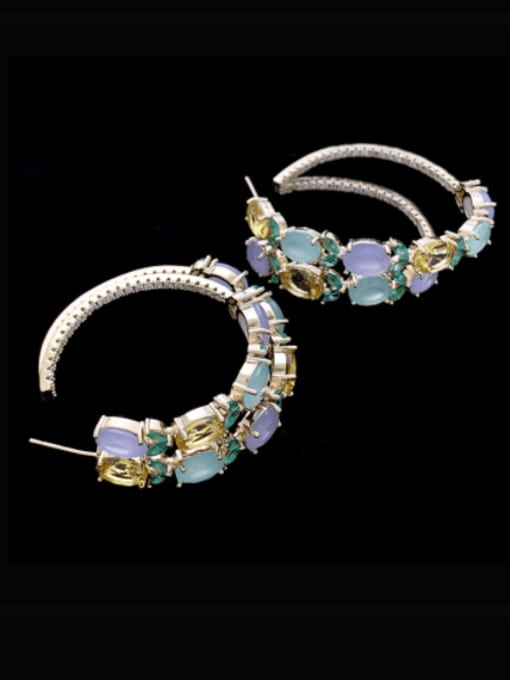 SUUTO Brass Cubic Zirconia Geometric Luxury Hoop Earring 0