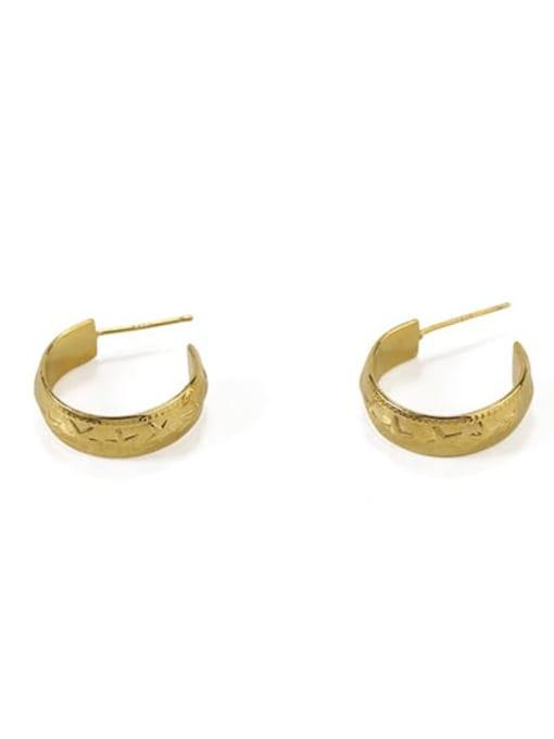 Item 4 Brass  Smooth Irregular Vintage Stud Earring