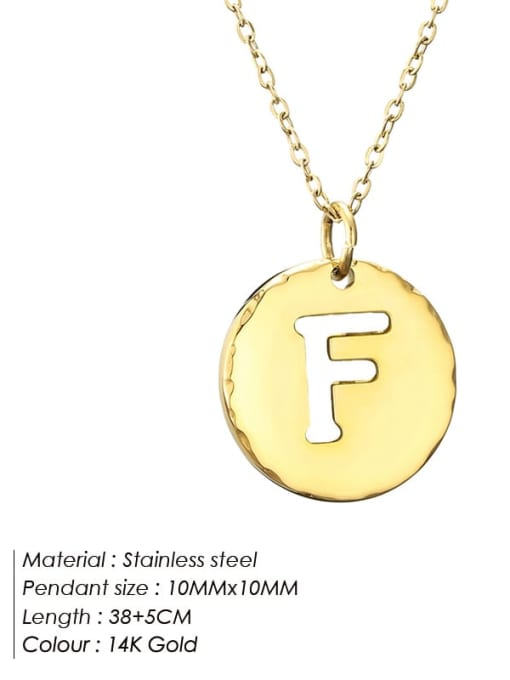 F Titanium Steel Letter Minimalist Round Pendant Necklace