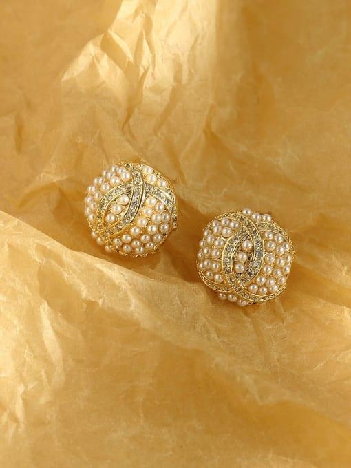 HYACINTH Brass Imitation Pearl Geometric Vintage Stud Earring 2