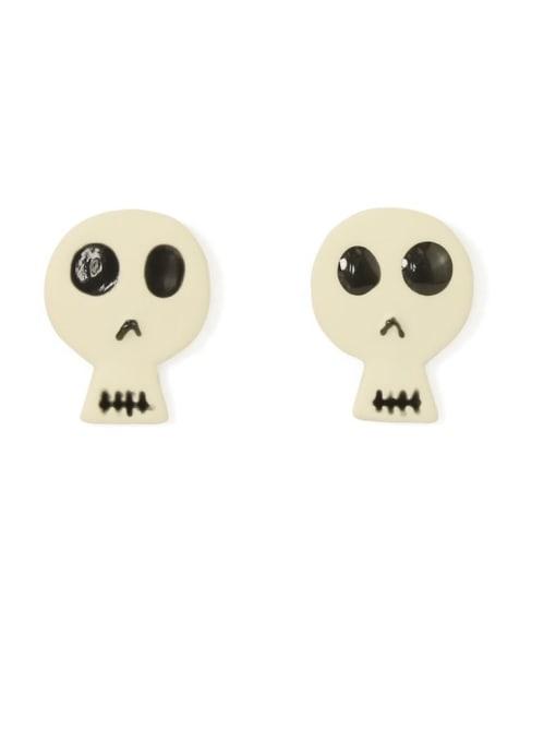 black and white Alloy Enamel Skull Cute Stud Earring