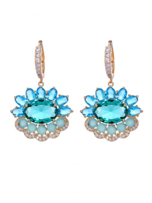 green Brass Cubic Zirconia Flower Luxury Drop Earring
