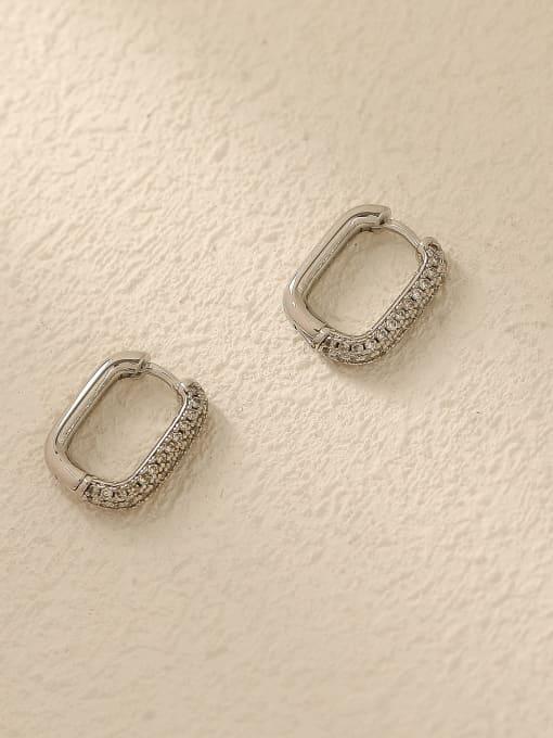 White K Brass Cubic Zirconia Geometric Vintage Huggie Trend Korean Fashion Earring