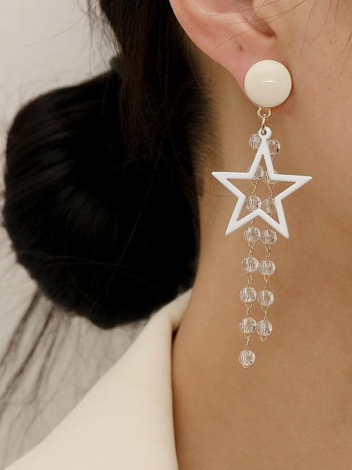 HYACINTH Brass Enamel Five Pointed Star Crystal Tassel  Drop Earring 1