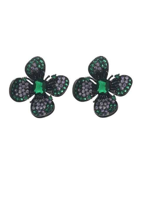 green Brass Cubic Zirconia Flower Vintage Stud Earring