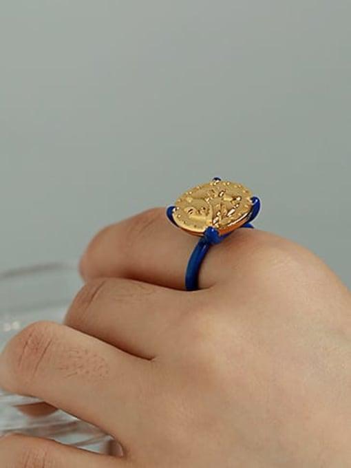 ACCA Brass Enamel Geometric Vintage Band Ring