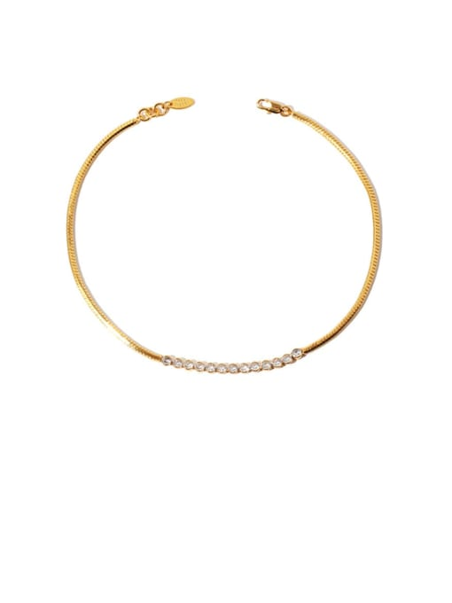 TINGS Brass Cubic Zirconia Vintage Snake bone chain  Necklace 0