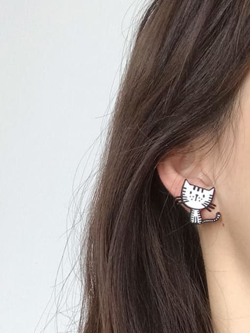 Five Color Alloy Enamel Cat Cute Stud Earring 1