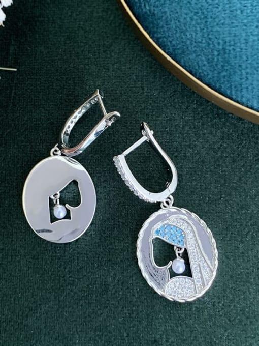 SUUTO Brass Cubic Zirconia Geometric Vintage Huggie Earring 2