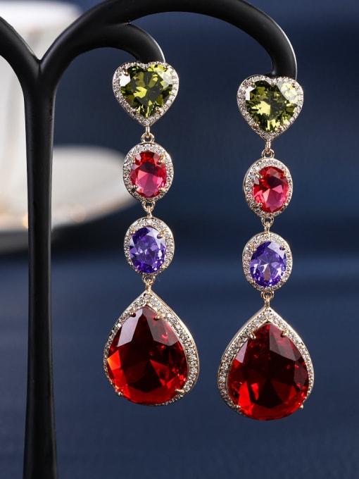 OUOU Brass Cubic Zirconia Heart Luxury Drop Earring 4