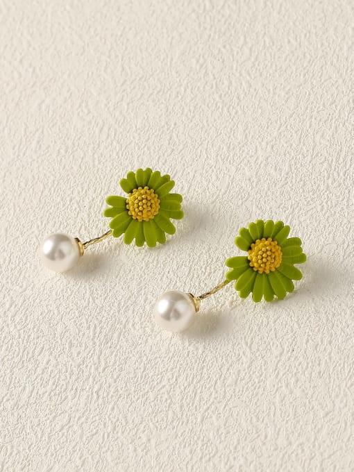 Grass green Brass Imitation Pearl Enamel Flower Cute Drop Earring