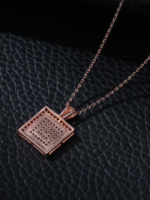 YILLIN Brass Cubic Zirconia Geometric Minimalist Necklace 3