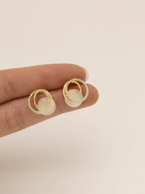 HYACINTH Brass Cats Eye Geometric Minimalist Stud Earring 1