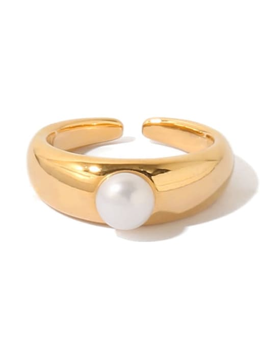 TINGS Brass Imitation Pearl Geometric Vintage Band Ring