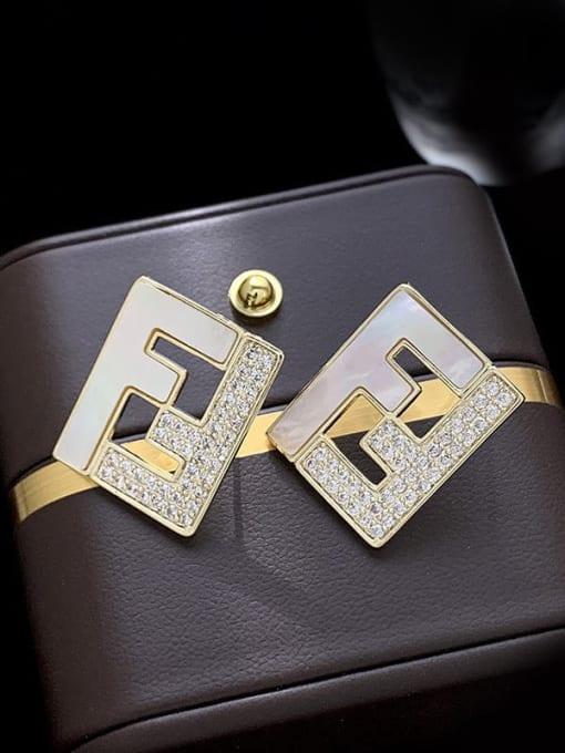 SUUTO Brass Cubic Zirconia Geometric Minimalist Stud Earring 3