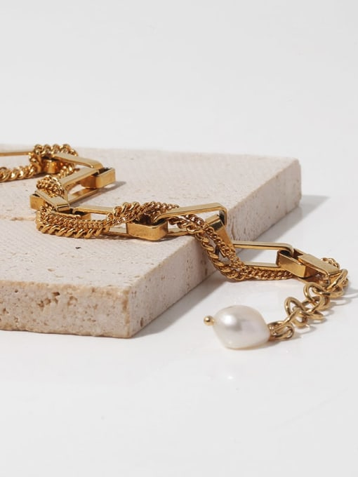 TINGS Brass Imitation Pearl Geometric Vintage Link Bracelet 0