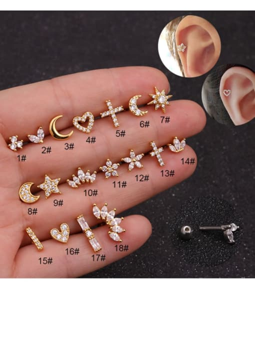 HISON Brass Cubic Zirconia Ball Hip Hop Stud Earring 2