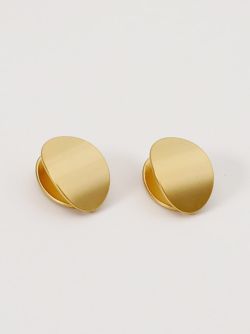 HYACINTH Brass Smooth Geometric Minimalist Stud Earring 3