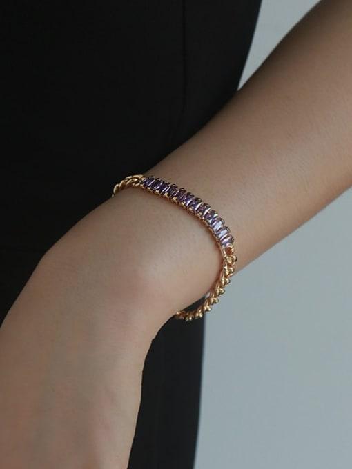 Five Color Brass Cubic Zirconia Geometric Vintage Link Bracelet 1