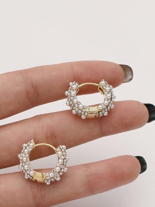 HYACINTH Brass Imitation Pearl Round Vintage Hoop Earring 2
