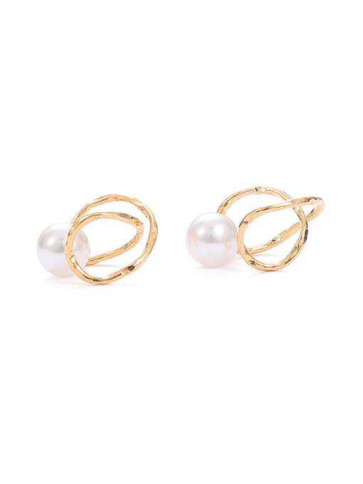 Five Color Brass Imitation Pearl Irregular Minimalist Stud Earring 3