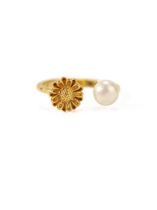 ACCA Brass Imitation Pearl Flower Minimalist Band Ring 2