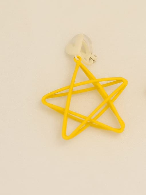 Yellow ear clip Copper Enamel Star Minimalist Stud Earring