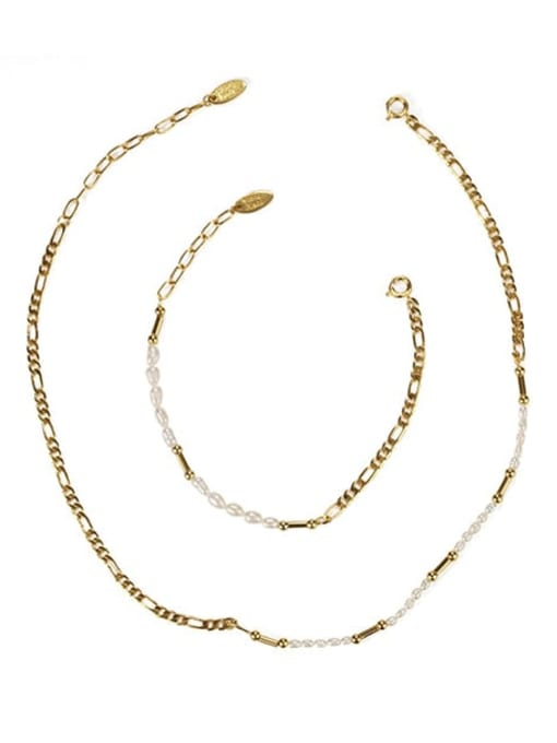 Five Color Brass Freshwater Pearl Irregular Minimalist Necklace 0
