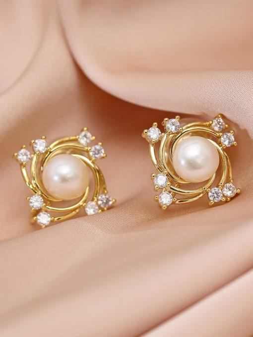 14k Gold Brass Freshwater Pearl Geometric Trend Stud Earring