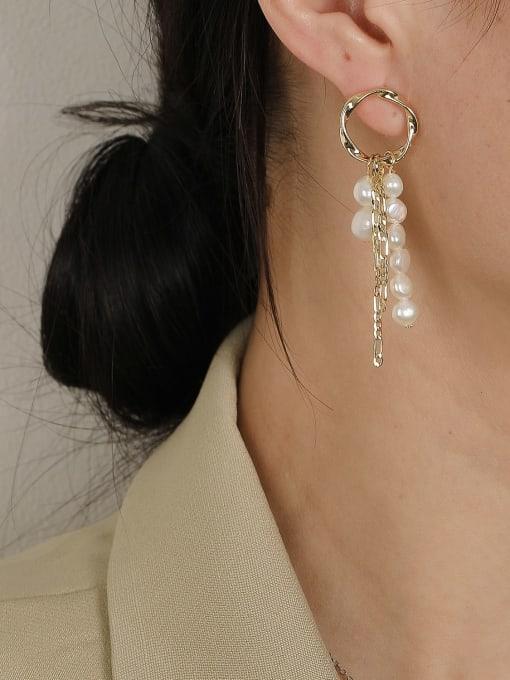 HYACINTH Brass Imitation Pearl Geometric Minimalist Drop Earring 2