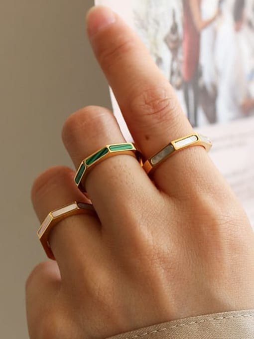 Five Color Brass shell Geometric Minimalist Band Ring 1