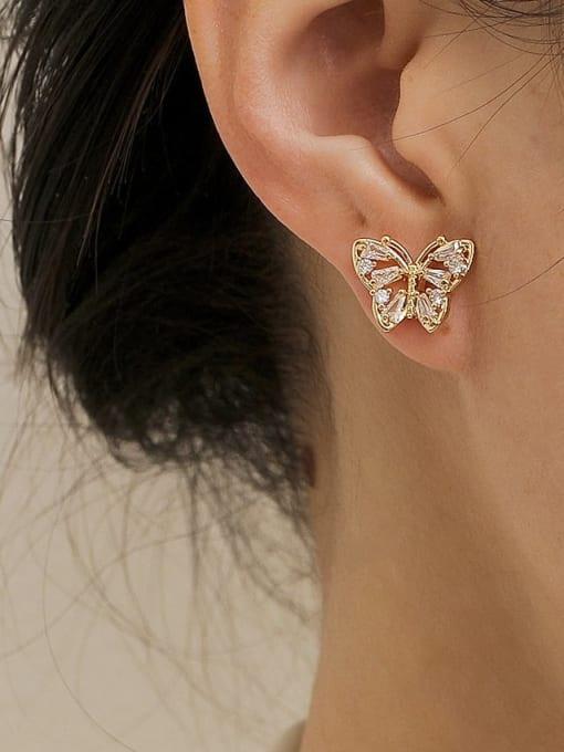 HYACINTH Brass Imitation Pearl Butterfly Vintage Stud Earring 1