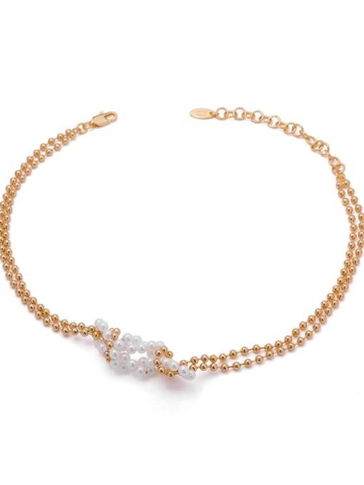 ACCA Brass Imitation Pearl Geometric Vintage Necklace 0
