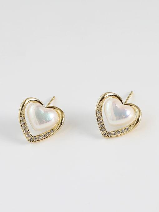 HYACINTH Brass Imitation Pearl Heart Minimalist Stud Earring