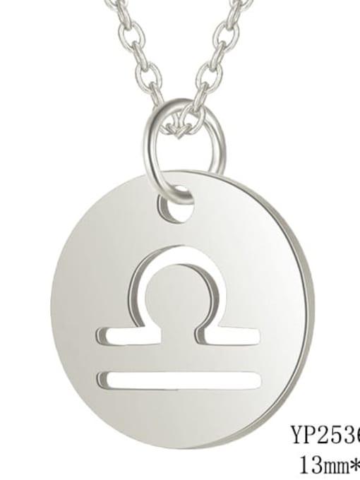 Libra steel Titanium Steel Constellation Minimalist  Round Pendant Necklace