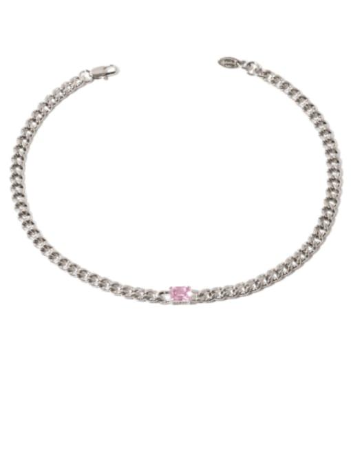 Pink zircon Brass Cubic Zirconia Geometric Vintage Necklace