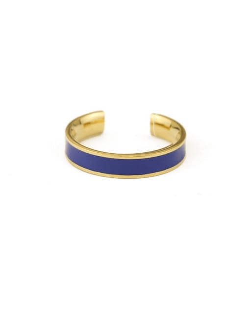 Blue ring Brass Enamel Geometric Minimalist Band Ring
