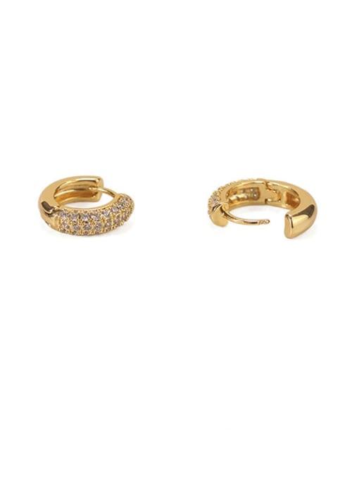 golden Brass Cubic Zirconia Geometric Dainty Huggie Earring