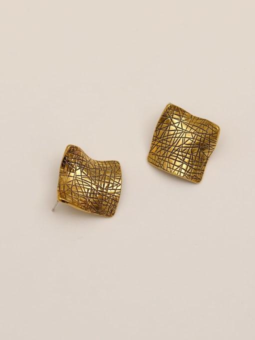 Gujin Brass Geometric Vintage Stud Earring