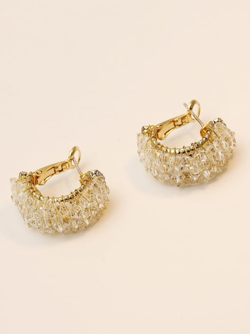 HYACINTH Brass Imitation Crystal Geometric Ethnic Stud Earring 2