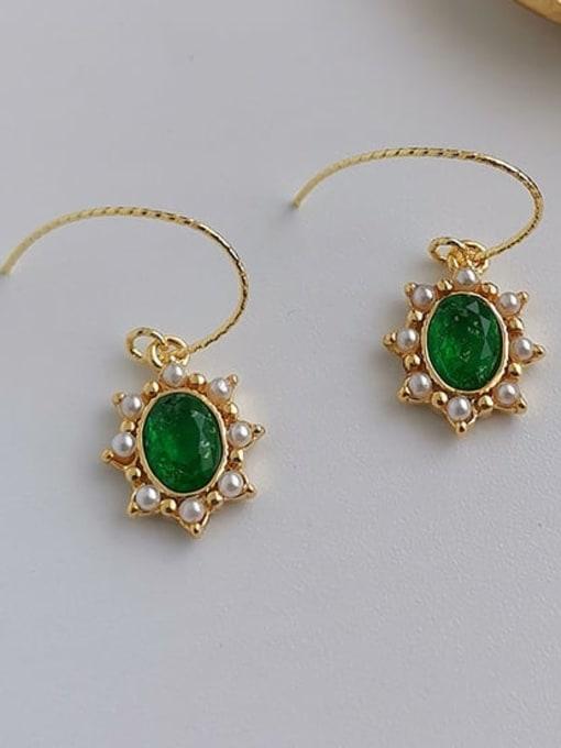 HYACINTH Brass Imitation Pearl Geometric Vintage Hook Earring 3