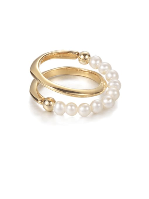 Pearl Ring Brass Imitation Pearl Geometric Vintage Stackable Ring