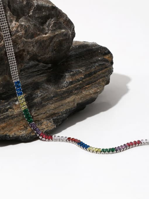 TINGS Brass Cubic Zirconia Rainbow Vintage Necklace 3