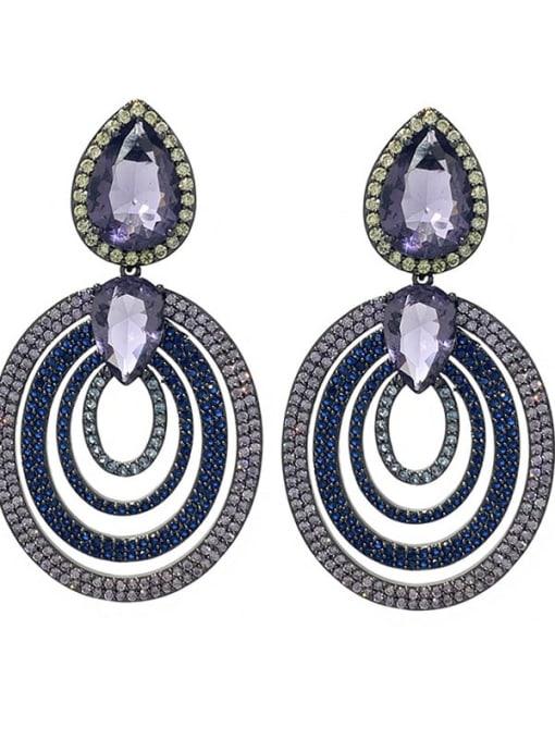 blue Brass Cubic Zirconia Geometric Vintage Cluster Earring