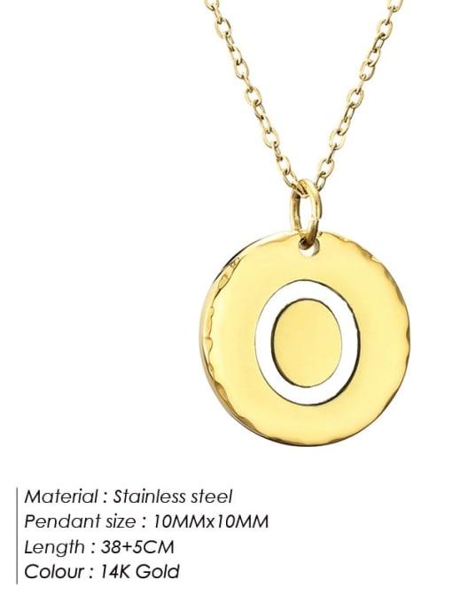 O Titanium Steel Letter Minimalist Round Pendant Necklace