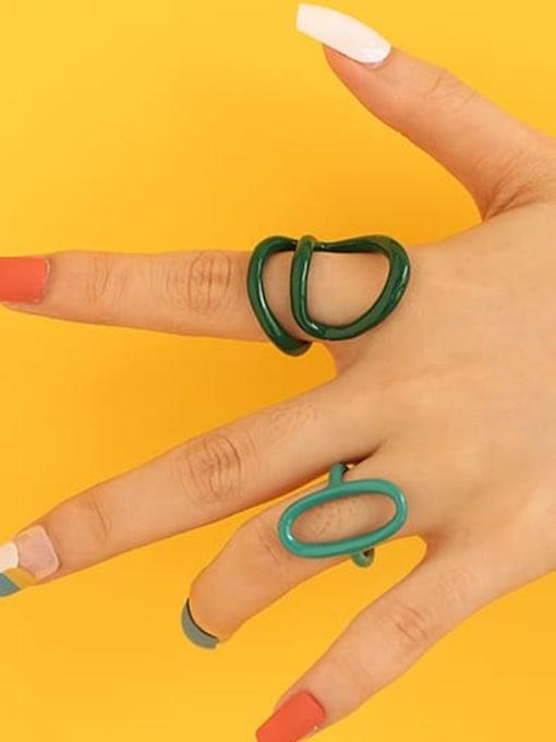 Five Color Zinc Alloy Enamel Line Geometric Minimalist Stackable Ring 1