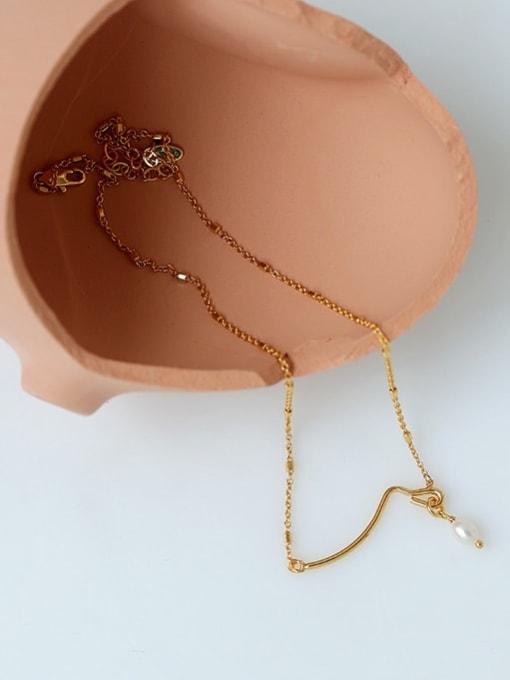 Five Color Brass Imitation Pearl Geometric Minimalist Necklace 3