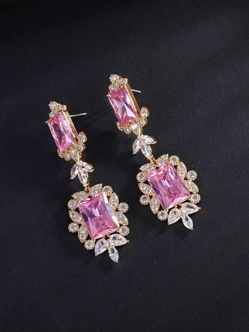 Pink Brass Cubic Zirconia Flower Luxury Drop Earring
