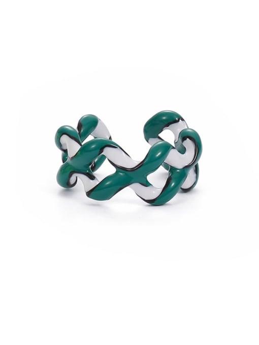 Green white Zinc Alloy Enamel Geometric Minimalist Stackable Ring