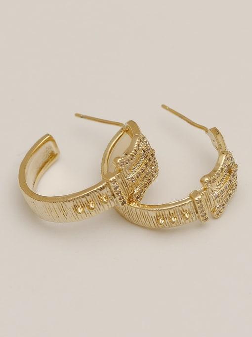 HYACINTH Brass Cubic Zirconia Geometric Vintage Hoop Earring 2